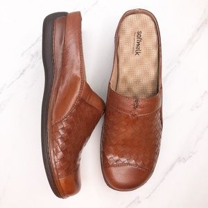 Softwalk San Marcos Woven Brown Mules Shoes 10
